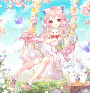 pink eyes,  pink hair,  cat ears,  sakura,  cat,  bird,  vam,  long hair