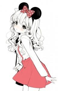 long hair,  red skirt,  mouse