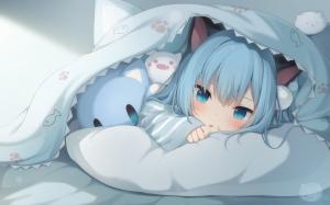 teddy bear,  bed,  blue eyes,  blue hair,  long hair,  cat ears