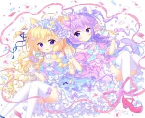 purple eyes,  cat ears,  long hair,  blonde hair,  violet hair,  blue eyes,  gothic lolita
