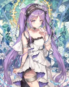 halo angel ring,  twin ponytails,  purple eyes,  purple hair,  long hair,  headband,  flower