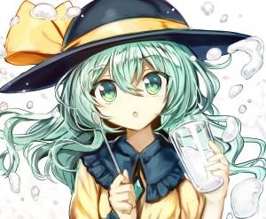 touhou,  game,  long hair,  green hair,  green eyes,  hat,  ribbon,  waterdrop,  spoon