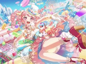 candy,  long hair,  pink hair,  pink eyes,  twin ponytails,  wonderland,  balloon,  hat