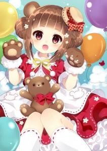 cloud,  hair bun,  brown hair,  brown eyes,  hat,  teddy bear,  balloon