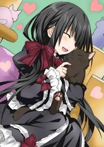 date a live,  anime,  long hair,  ribbon,  black hair,  kitten,  maiden