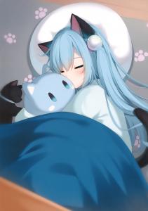 sleeping,  hugging,  closed eyes,  cat ears,  long hair,  blue hair,  footprint,  kitten