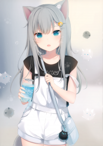 footprint,  long hair,  grey hair,  blue eyes,  water,  cat ears