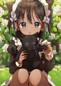 kitten,  long hair,  dark skin,  sitting,  maid,  flower,  black hair,  twin ponytails,  blue eyes