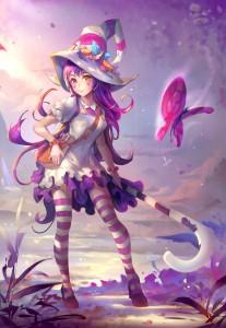 socks,  fairy,  winter,  purple hair,  long hair,  lol,  game,  purple eyes,  yellow eyes,  hat