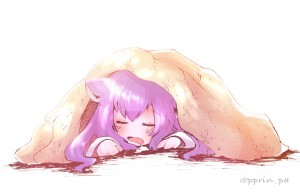 closed eyes,  cat ears,  long hair,  sleeping,  lying,  purple hair