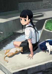 short hair,  moe girl,  black eyes,  cat ears,  black hair,  twintails,  school uniform