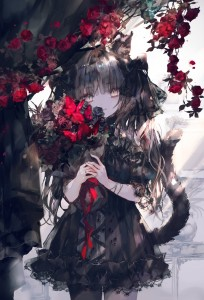 long socks,  gothic lolita,  cat ears,  black hair,  long hair,  yellow eyes,  twin ponytails,  flower,  butterfly