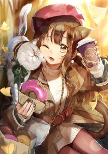 kitten,  brown hair,  cat ears,  long hair,  brown eyes,  hat,  eating,  donut,  coffee,  sititng,  autumn,  long socks