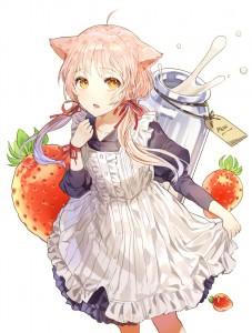 medium hair,  yellow eyes,  maid,  gothic lolita,  cat ears,  dress,  strawberry,  milk,  twintails,  pink hair