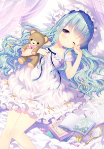 lying,  long hair,  blue hair,  purple eyes,  hat,  braid,  teddy bear,  bed