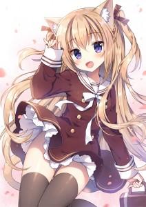 school uniform,  purple eyes,  blonde hair,  long hair,  sakura,  stockings,  black stockings,  cat ears