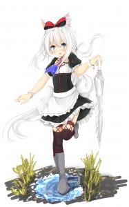 blue eyes,  gothic lolita,  white hair,  umbrella,  stockings,  black stockings,  cat ears,  boots,  maid