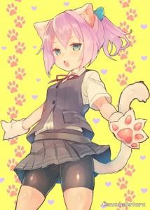 cat ears,  green eyes,  school uniform,  short,  short hair,  pink hair,  ponytail