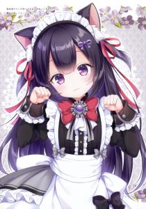 purple eyes,  cat ears,  half body,  bow,  headband,  maid,  long hair,  black hair