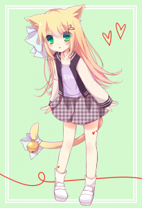 cat ears,  long hair,  yellow hair,  green eyes,  hair bow,  hairpin,  socks