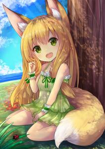 yellow hair,  sky,  water,  sitting,  fox girl,  bug,  green eyes,  long hair