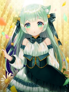long hair,  green hair,  green eyes,  hair bow,  hair bell,  cat ears,  half body,  flower