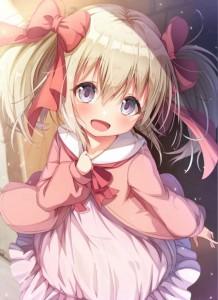 blue eyes,  yellow hair,  pink,  dress,  twin-tail,  uchi no musume no tame naraba