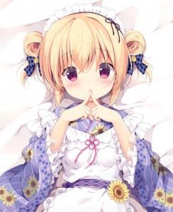bed,  half body,  flower,  maid,  short hair,  yellow hair,  hair bun,  purple eyes,  hair bow,  headband,  kimono,  lying