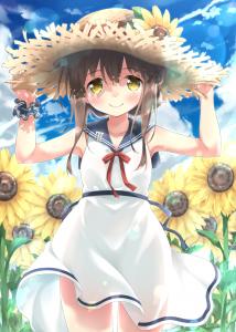 hat,  school uniform,  armpit,  half body,  flower,  sky,  brown hair,  hair bun,  long hair,  yellow eyes