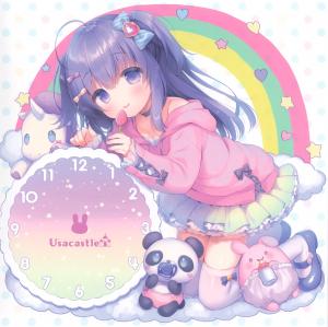 panda,  purple hair,  purple eyes,  bow,  cloud,  bunny,  twin ponytails,  unicorn,  rainbow,  clock,  long socks,  collar,  bare shoulder,  candy,  eating,  kneeling,  long hair