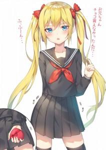 twin ponytails,  yellow hair,  blue eyes,  bow,  school uniform,  long socks,  long hair,  valentine,  white background,  gift