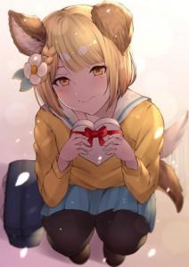 gift,  sitting,  braid,  flower,  wolf girl,  short hair,  yellow hair,  valentine,  yellow eyes,  school uniform,  long socks