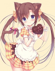 twin ponytails,  blue eyes,  bow,  chocolate,  half body,  bell tail,  cat ears,  long hair,  brown hair