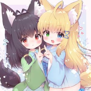 heterochromia,  loli,  kimono,  tail,  beast ears