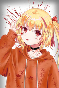 touhou,  flandre scarlet,  loli,  collar,  blood,  vampire,  touhou project