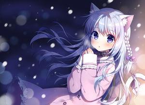 cat ears,  winter,  blue hair,  blue eyes,  snow