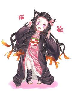 kimetsu no yaiba,  nezuko kamado,  cat ears,  loli