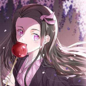 kimetsu no yaiba,  nezuko kamado,  eating