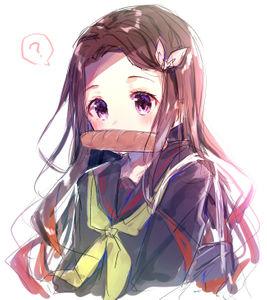 kimetsu no yaiba,  nezuko kamado,  sailor uniform,  doodle,  kimetsu no high school