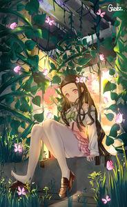 kimetsu no yaiba,  nezuko kamado,  young girl,  white